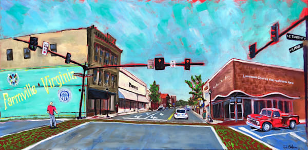 Third and Main Street Farmville, VA | Fine Art Painting by Rick Osborn