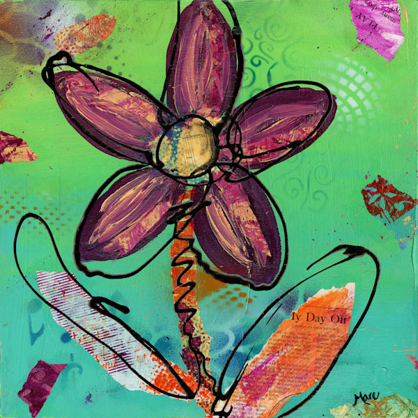Original mixed media design& acrylic Playful Flower painting by artist Mary Anne Hjelmfelt