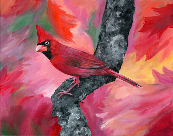 Original fine art acrylic painting on canvas by Mary Anne Hjelmfelt of a male red cardinal perched on a tree branch.