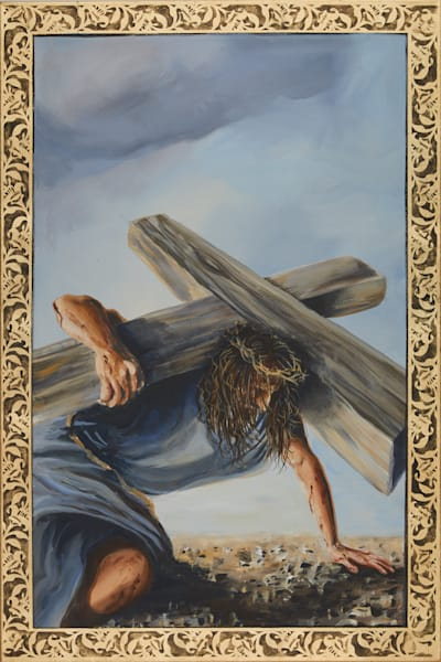 First Station of the Cross painting by Holly Whiting