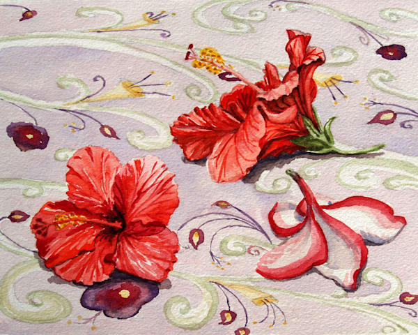 'Hibiscus and Plumeria' Art for Sale