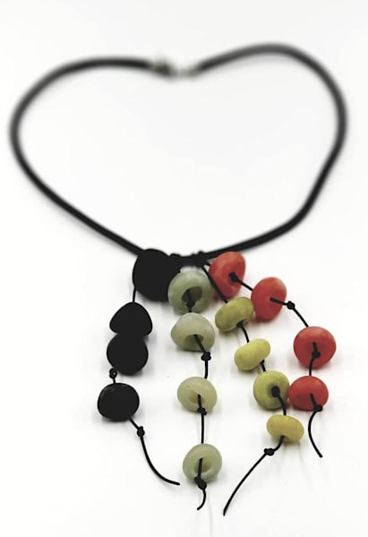 Polymer Clay Waterfall Beads Pendant Jewelry Leather Necklace
