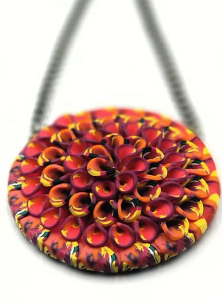 Handmade Large Polymer Clay Tendril Pendant Jewelry Necklace