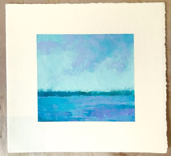 Reflected Lavender I, Oil on paper