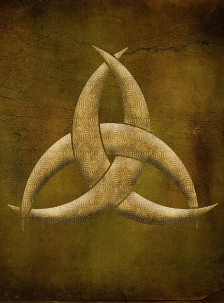 Earthen Celtic Triquetra Symbol Rectangle Art painting for sale | Grimalkin Studio