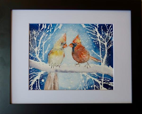 Wintery Cardinal Lovebirds
