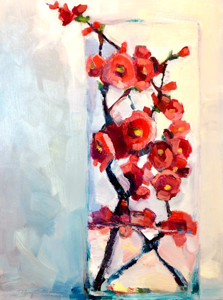 "Beautiful ""Still Life With Red Flowering Quince Blooms"" oil painting 24""x18""x.75"" deep wood cradleboard with painted sides."