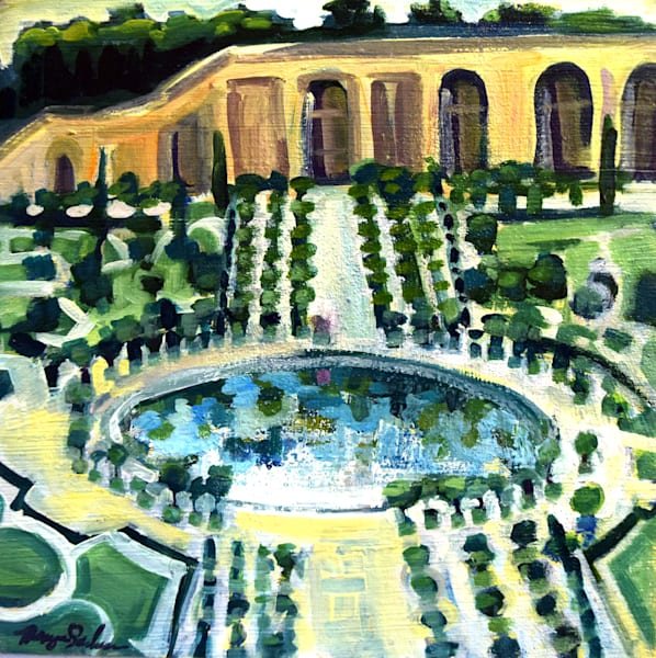 """Versailles l' Orangerie"". Gorgeous art luxuries. Painting made with oil paint on wood. Framed with a white floater frame 8"" x 8"" w plus 1"" all round for frame depth wired and ready to hang."