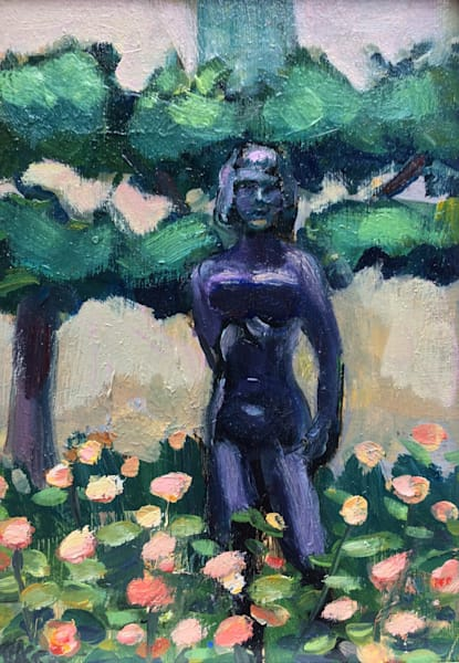 "Plein air painting from my travels in France of a Maillol sculpture in a gorgeous park in Paris! It was the Square Georges-Cain on rue Payenne. I also had a fantastic pastry as I painted.  Gorgeous art luxuries. ""Paris Strong Femme"" painting of a fa"