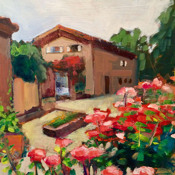 "Gorgeous plein air painting of  the gorgeous "" Italian Villa -Il Tesoro the Heart"" 12""x12"", oil on wood panel framed with a white wood floater frame."