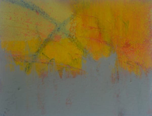 Remember is an oil and cold wax painting with yellows and grays