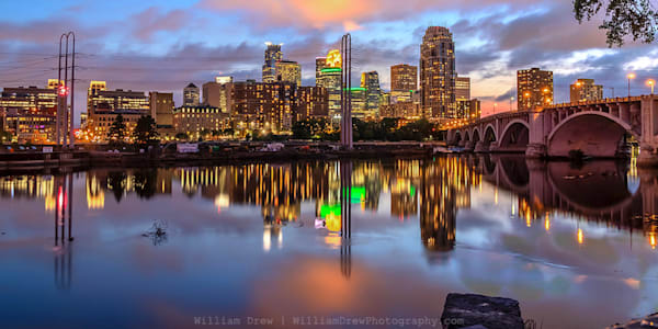 Minneapolis Dusk Reflection - Minneapolis Wall Murals | William Drew