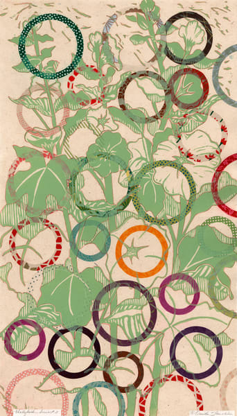 Hollyhock 3, a pale green bouquet of hollyhocks and circles, for sale by Ouida Touchon