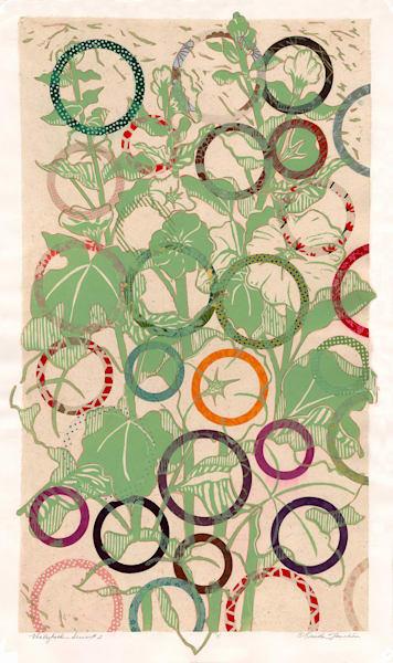Bouquet of pale green hollyhocks handprinted original art for sale