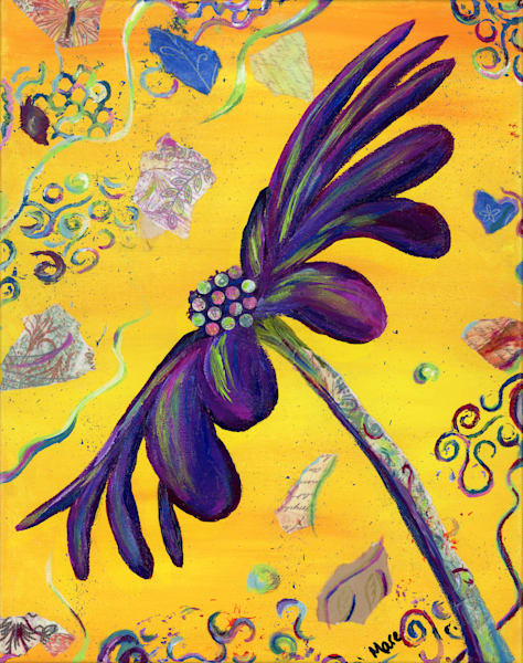 This purple Party Daisy, a fun, colorful mixed-media original acrylic painting by artist Mary Anne Hjelmfelt