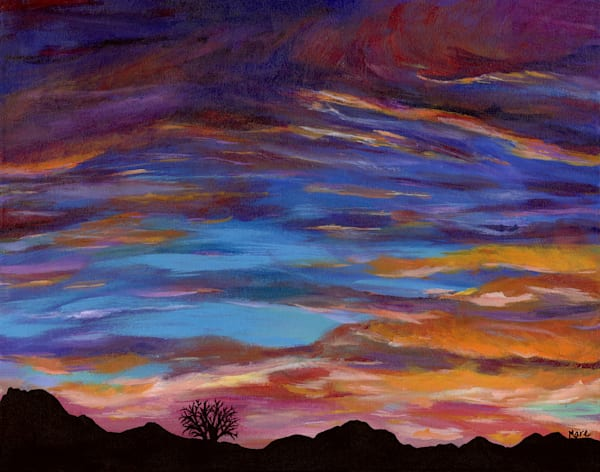 Original Acrylic fine art Painting of Arizona Sunset by artist Mary Anne Hjelmfelt