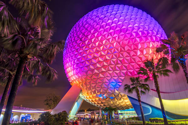 Spaceship Earth at Night 1 - Disney Canvas | William Drew