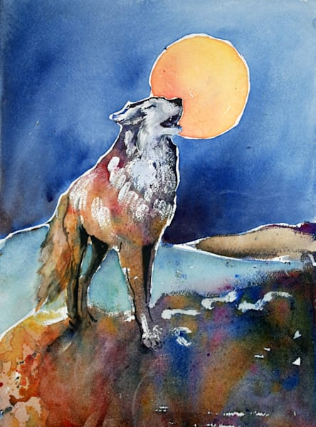 Moon Song Spirit Wolf Art Print