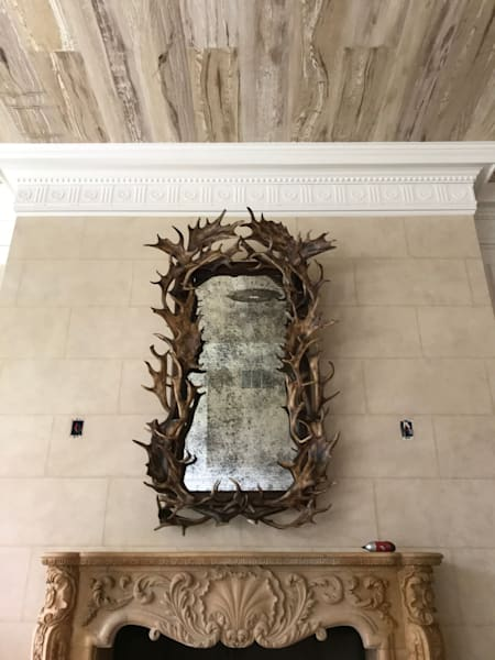 Stone Block, Faux Bois & Antique Mirror Art | Studio Artistica