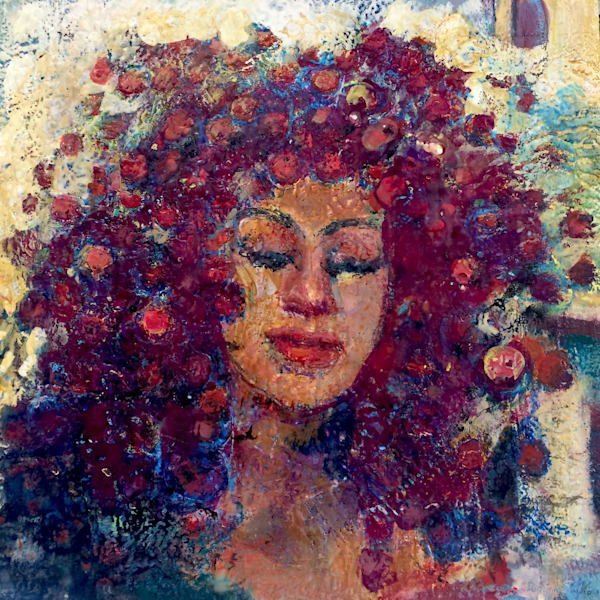 """""""Crown of Glory Radiant Woman with Black Dragon Wisteria"""" painting of a beautiful woman  made with encaustic wax,pigment on wood."""