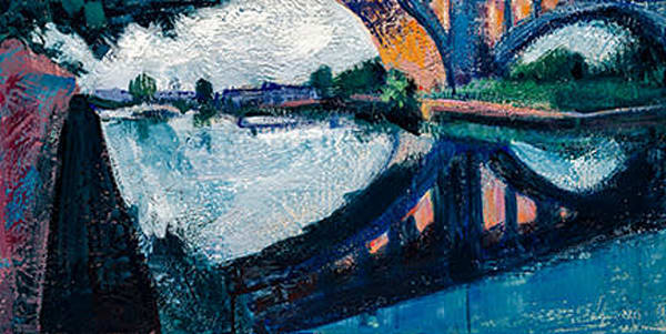 "Affordable art luxuries! This beautiful Manayunk Bridge 3  painting is created with encaustic wax on wood, 12x24"".Framed."