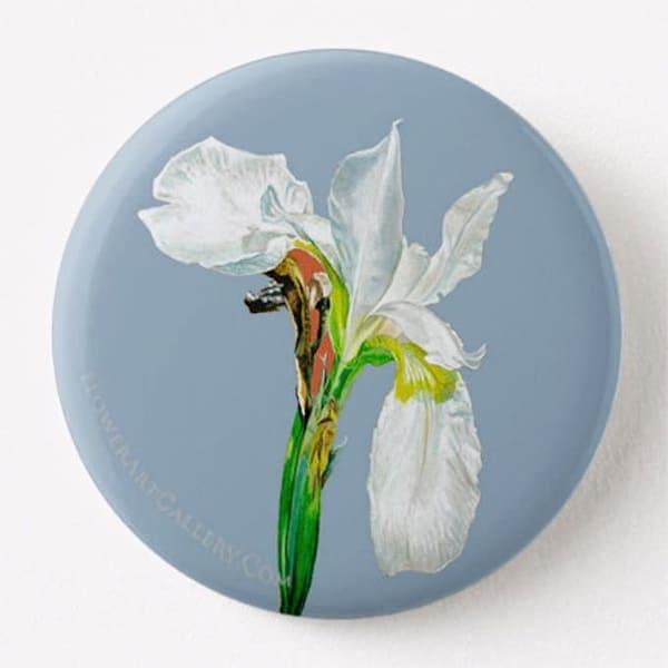 White Flag Iris Button