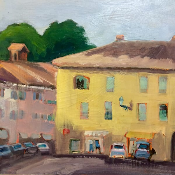 "Lazio Italy, I painted this plein air oil painting in Aquapendente in the town square. Oil painting on wood, 12""x12"" and framed with a white wood floater frame."