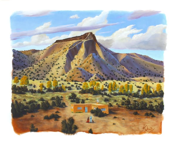 Adobe at Otowi-southwest-painting-print-s