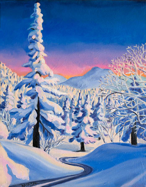 'Alpine Glow' Vermont Ski Art for Sale