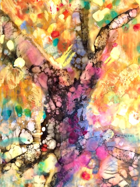 "Exciting ""Tree of Life 5 ""landscape encaustic wax painting.  Original art by Monique Sarkessian. Encaustic wax and mixed media on paper mounted on wood with cradled wood back measures 22x16cm"