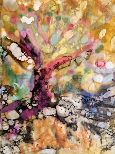Expressionist landscape Tree of Life 6 created with encaustic and mixed media on paper mounted on wood. Measures 22cm high x 16cm wide.