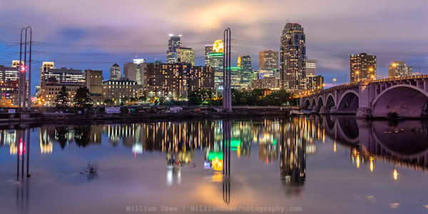 Minneapolis Skyline Reflection 2 - City Wall Murals | William Drew