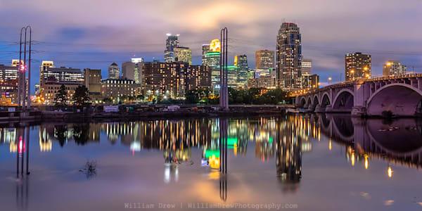 Minneapolis Skyline Reflection 2 - City Wall Murals | William Drew