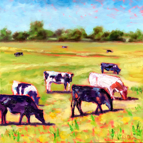 Graceful Grazing Cows | Fine Art Oil Painting by Rick Osborn
