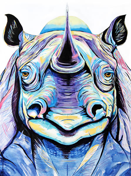 Purple rhino Print