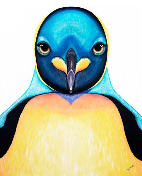 Imperial Penguin colorful painting by Ekaterina Sky Antonova