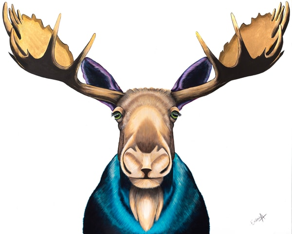 Print of Acrylic Painting of a Moose