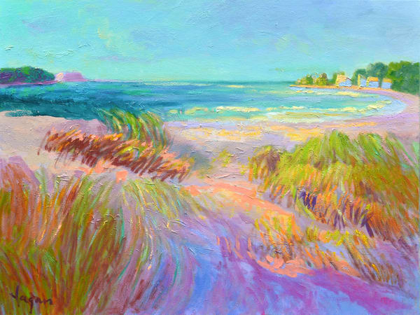 Beach Dunes Coastal Painting Art Print on Canvas or Watercolor Paper, Beachcomber by Dorothy Fagan