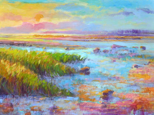 Spectacular Coastal Sunset Beach Painting Art Print on Canvas, September Chase by Dorothy Fagan