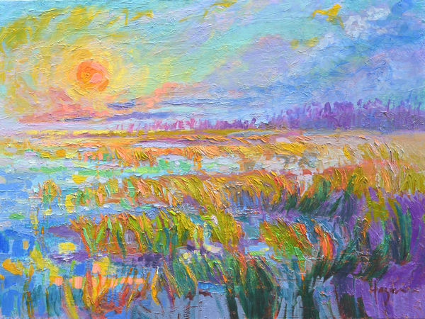 Stunning Sunset Coastal Marsh Landscape Painting Art Print, Sundown by Dorothy Fagan
