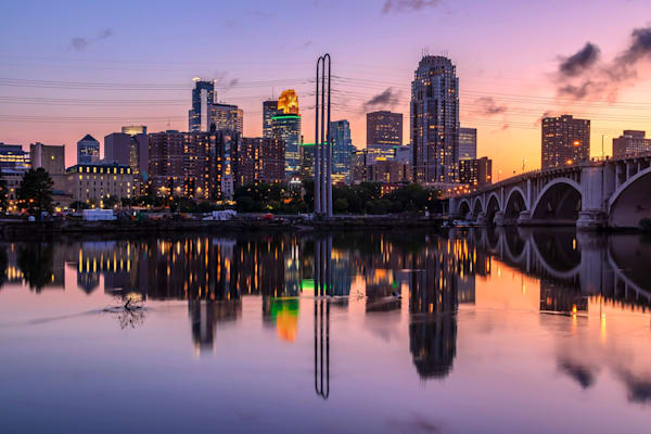 Minneapolis Reflection at Dusk - MPLS Skyline Art | William Drew