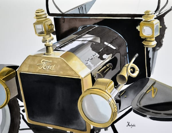 Model T Ford Closeup painting