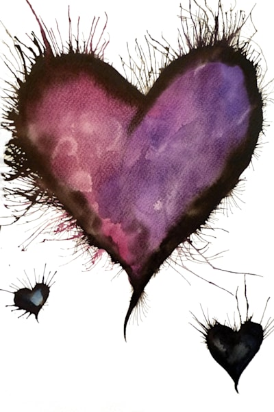 Artwork of purple hearts in a watercolour style