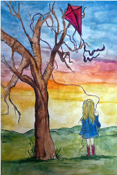 Artwork of a girl and her kite being stuck in a tree