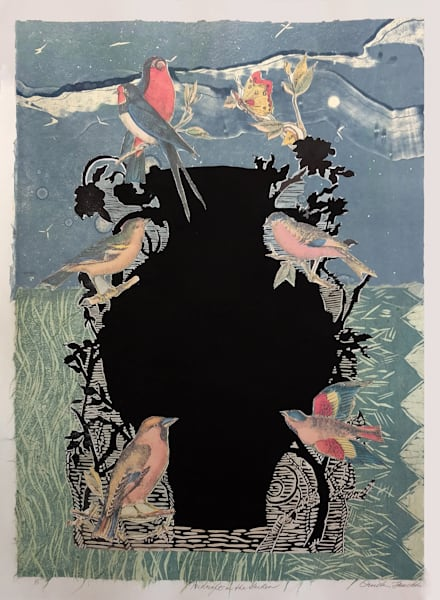 Midnight in the Garden, linocut with collage print by Ouida Touchon, fine artist