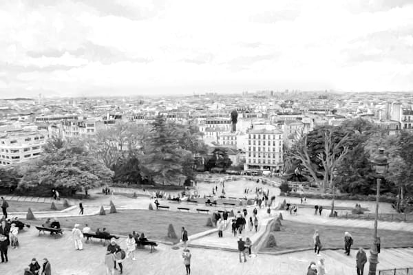 BW Photograph of  Montmartre Rooftops in Paris