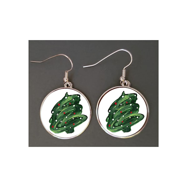 "Unique jewelry created with Mare's Art artwork ""Christmas Tree Swirl"" printed right on the earrings, perfect for you or as an artsy gift!"