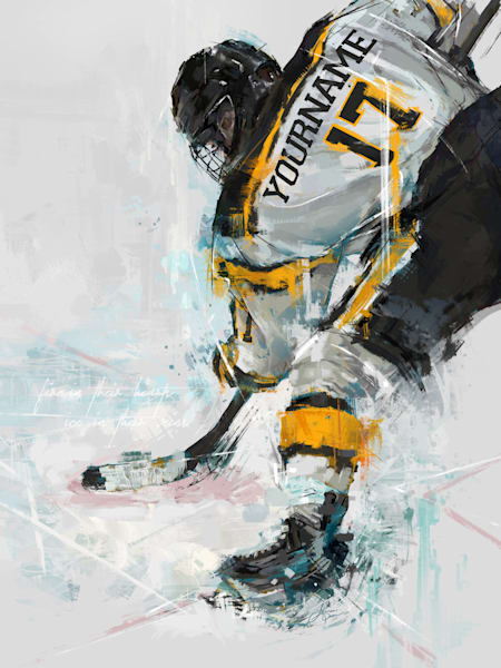 Face-Off Hockey Player Portrait