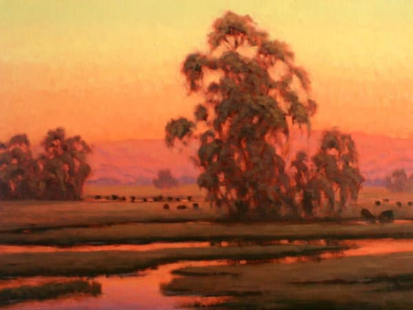 Sunset glow over the Laguna oil paintng
