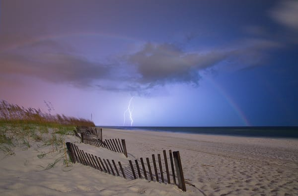 A moonbow in a thunderstorm taken on